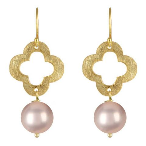 White label by Liv Oliver Gold Clover and Champagne Pearl Drop Earrings