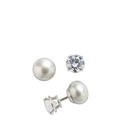 White label by Liv Oliver Silver Cz Pearl Double Sided Earrings