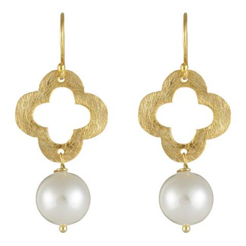 White label by Liv Oliver Gold Clover Pearl Drop Earrings
