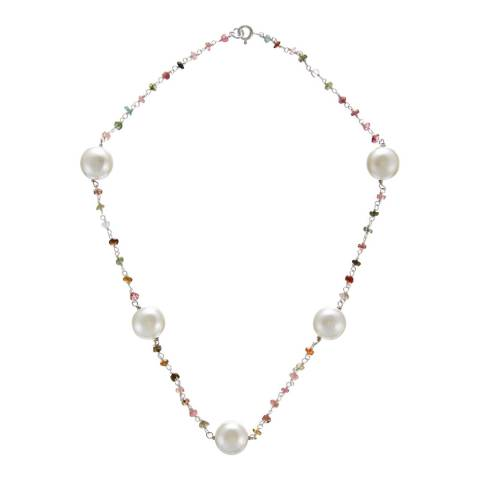 Alexa by Liv Oliver Sterling Silver Multi Tourmaline and Pearl Station Necklace