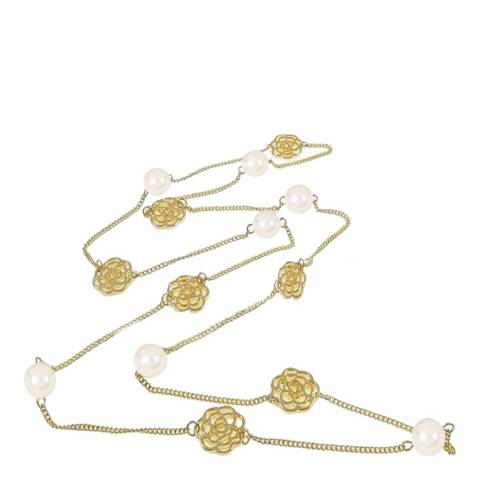 White label by Liv Oliver Gold Rose And Pearl Long Necklace