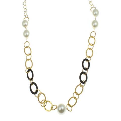 White label by Liv Oliver Gold Multi Link Pearl Necklace