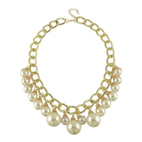 White label by Liv Oliver Gold Multi Pearl Drop Necklace