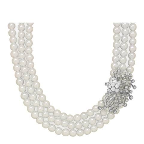 White label by Liv Oliver Silver Three Strand Pearl and Crystal Necklace