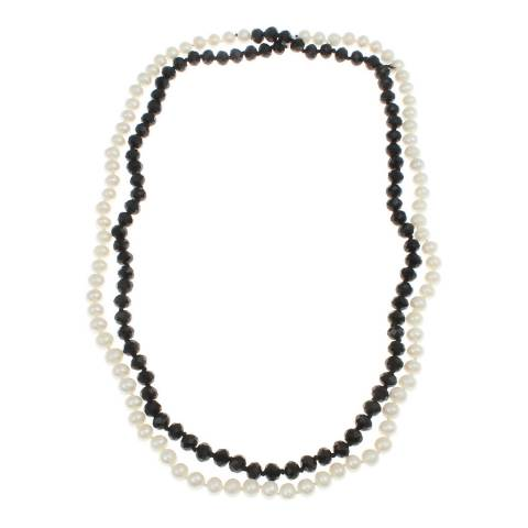 White label by Liv Oliver Onyx and pearl layered necklace