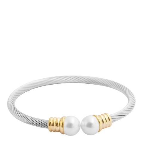 White label by Liv Oliver Gold/Silver Open Cuff Pearl Bangle