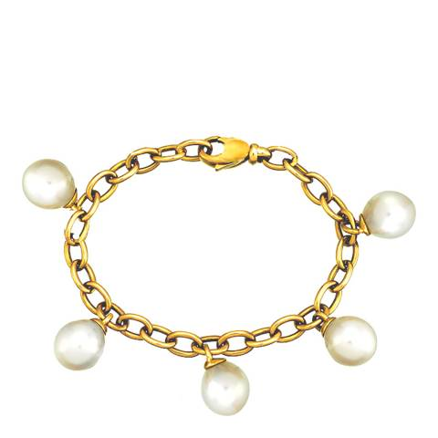 White label by Liv Oliver Gold and Pearl Charm Bracelet