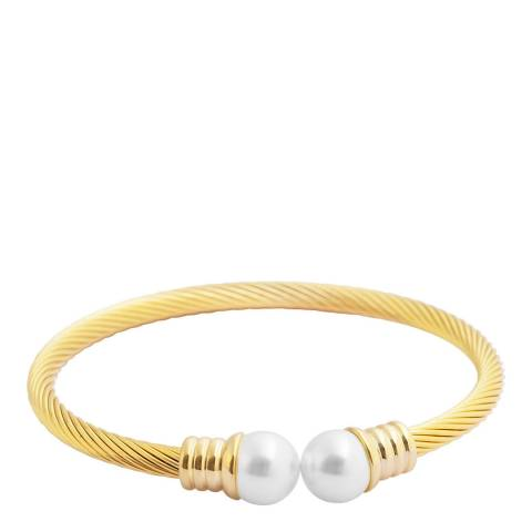 White label by Liv Oliver Gold Pearl Bangle