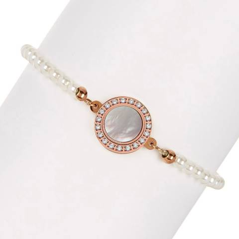 White label by Liv Oliver Rose Gold Mother Of Pearl Cz Disc Pearl Bracelet