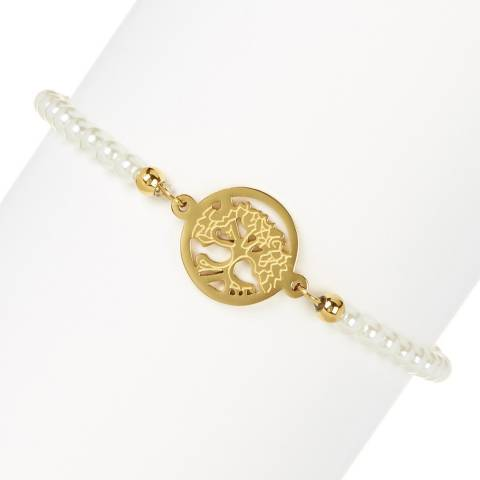 White label by Liv Oliver Gold Family Tree Pearl Bracelet
