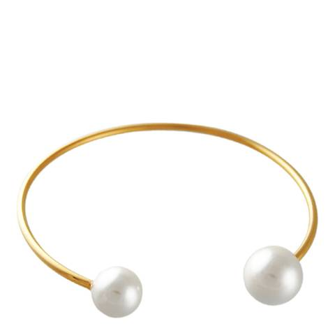 White label by Liv Oliver Gold and Pearl Cuff Bangle