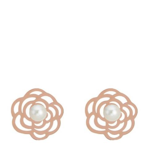 White label by Liv Oliver Rose Gold and Pearl Flower Stud Earrings