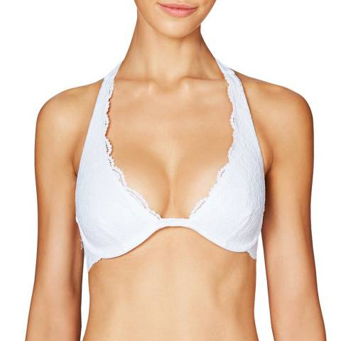 Heidi Klum Swim White Jetset Dreamer Underwired Plunge Halter Bikini Top