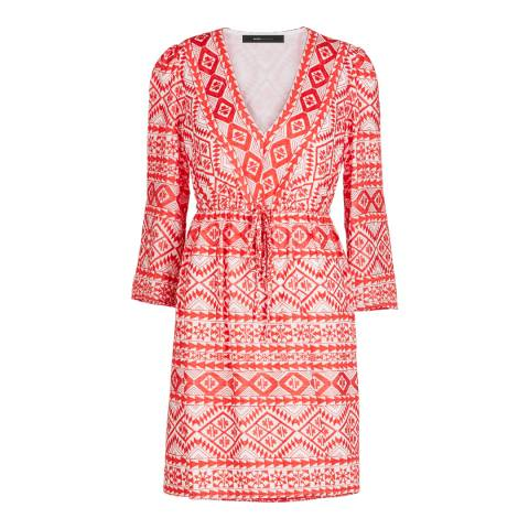 BCBG Bright Poppy Combo Woven Dress