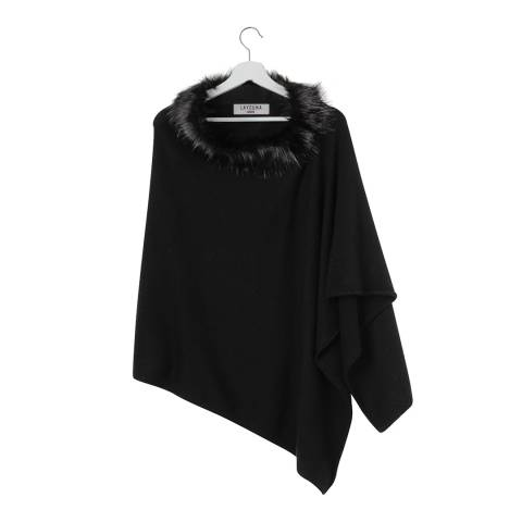 Laycuna London Black Faux Fur Collar Cashmere Poncho