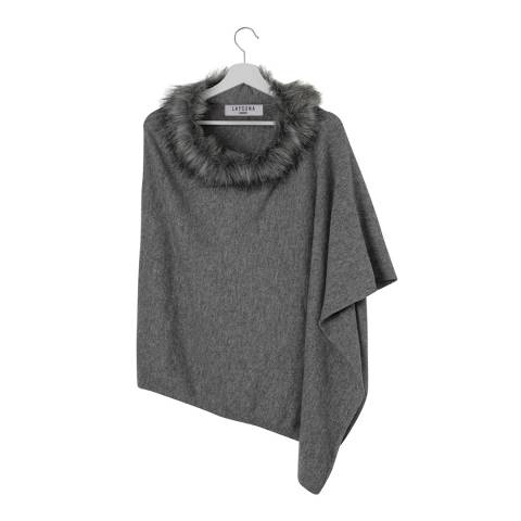 Laycuna London Grey Marl Cashmere Poncho