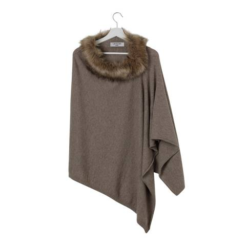 Laycuna London Taupe Faux Fur Collar Cashmere Poncho