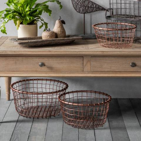 Gallery Set of Three Dixon Metal Baskets