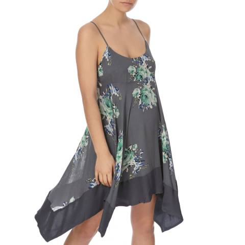 Free People Black Combo Faded Bloom Mini Dress