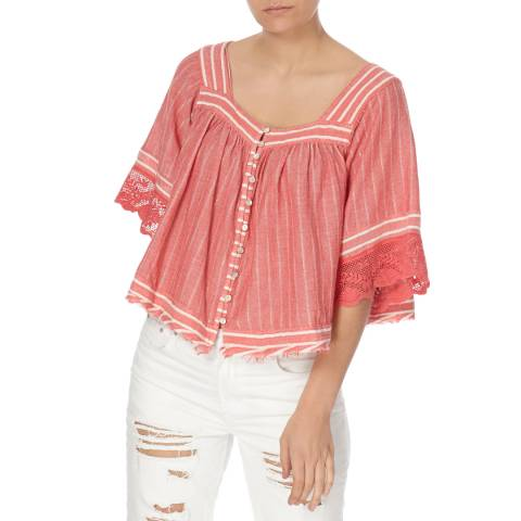 Free People Red See Saw Top