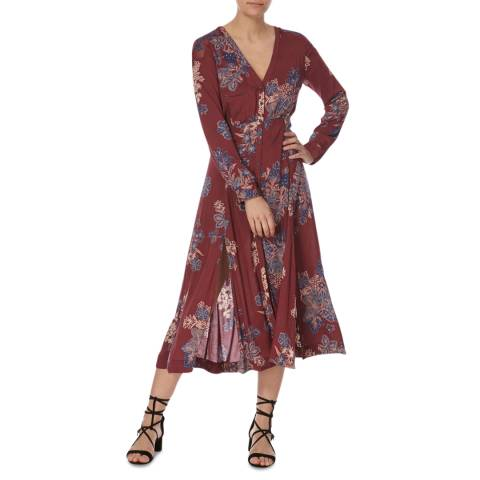 Free People Purple Combo Miranda Print Midi Dress
