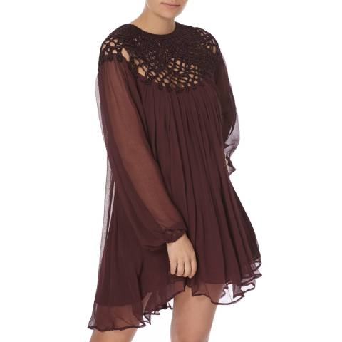 Free People Plum Macrame Mini Dress