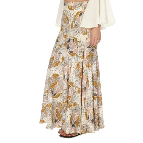 Free People Neutral Combo Skirting Fate Maxi Skirt