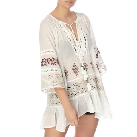 Free People Ivory Combo You Are Mine Peasant Tunic