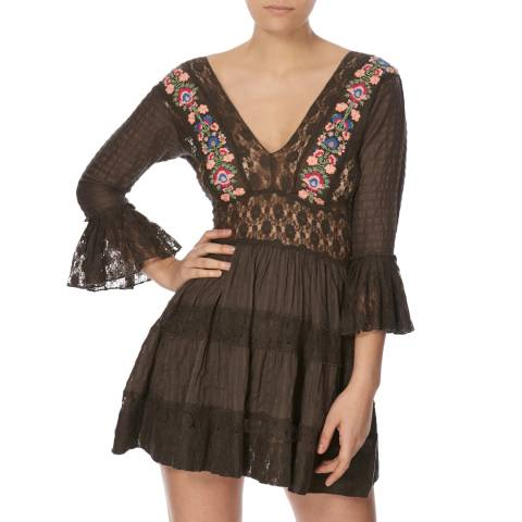 Free People Black Antiquity Mini Dress