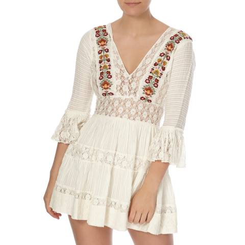Free People Ivory Antiquity Mini Dress