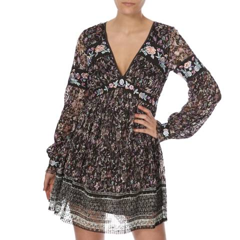 Free People Black Combo Cherry Blossom Mini Dress