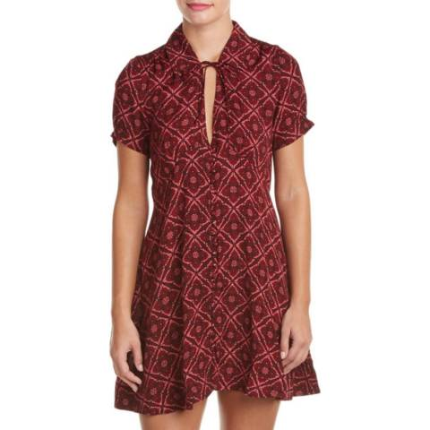 Free People Red Melody Printed Dress