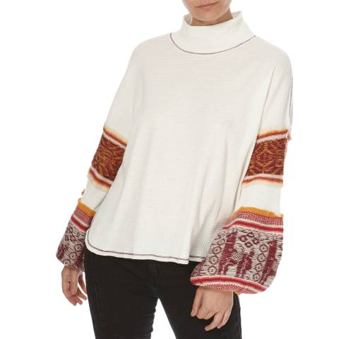 Free People Ivory Northern Lights Waffle Knit Jumper