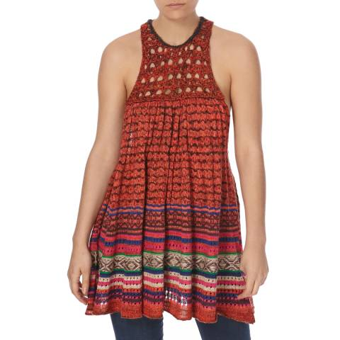 Free People Red Rare Hearts Tunic