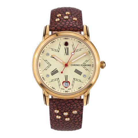 Chrono Diamond Women's Gold/Brown Leather Nesta Watch