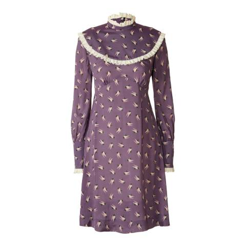 Orla Kiely Lilac Silk Rayon Wilder Lace Yoke Dress