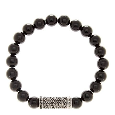 Stephen Oliver Black/Silver Onyx Carved Bar Bracelet