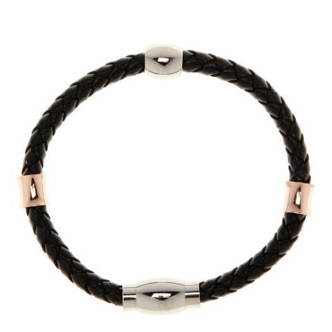 Stephen Oliver Rose Gold and Silver Woven Black Leather Bracelet