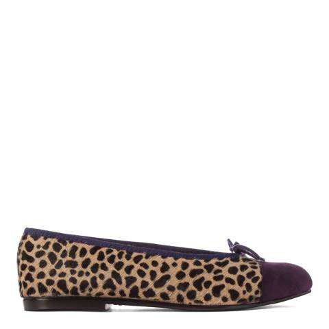 French Sole Leopard Print Pony Hair Purple Suede Toe Cap Simple Flats