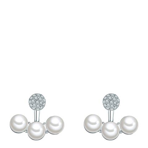 Perldesse White Organic Pearl Silver Stud Earrings