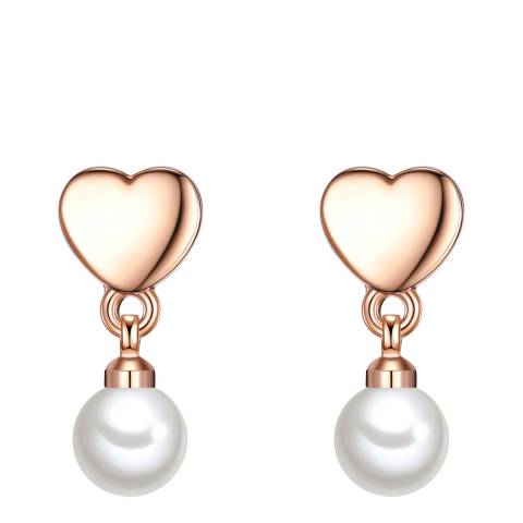 Perldesse White Organic Pearl Rose Gold Stud Earrings