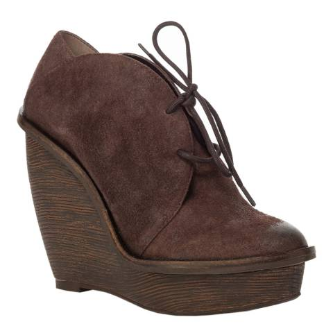 Leon Max Collection Brown Suede Lace Up Arc Wedge Ankle Boots