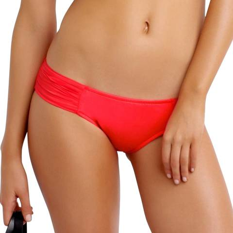 Seafolly Coral/Red Pleated Hipster Bikini Briefs