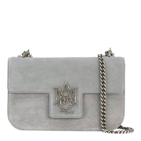Alexander McQueen Grey Insignia Suede Shoulder Bag
