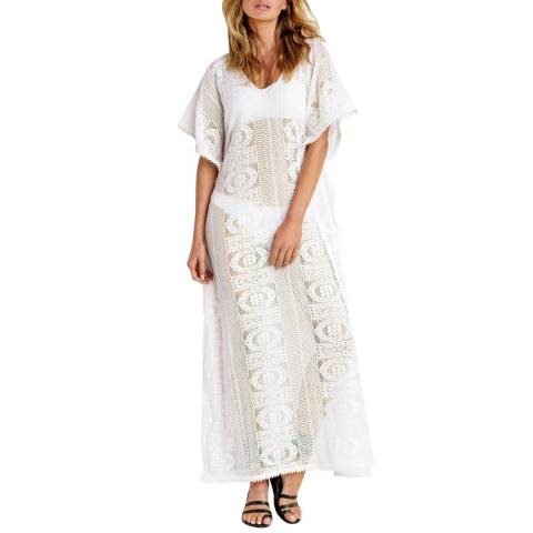 Seafolly Milk White Floral Lace Maxi Kaftan