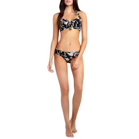 Seafolly Black Spring Garden Soft Cup Halter Bikini Top