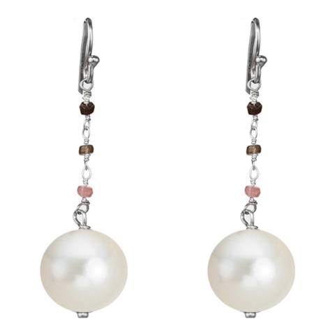 Alexa by Liv Oliver Sterling Silver Multi Tourmaline and Pearl Drop Earrings