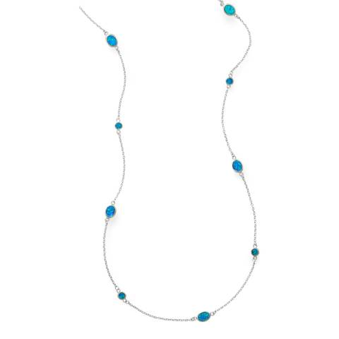 Alexa by Liv Oliver Rhodium Plated Sterling Silver Round And Oval Opal Long Necklace