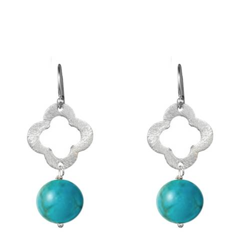 Alexa by Liv Oliver Sterling Silver Clover And Turquoise Drop Earrings