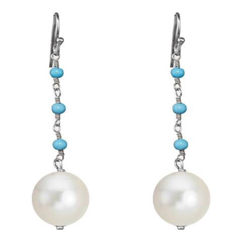 Alexa by Liv Oliver Sterling Silver Turquoise and Pearl Drop Earrings